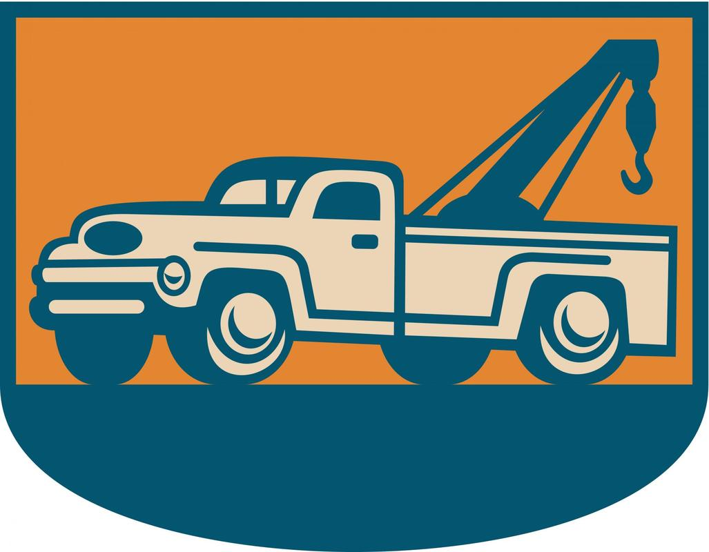 blue and orange animated towing truck