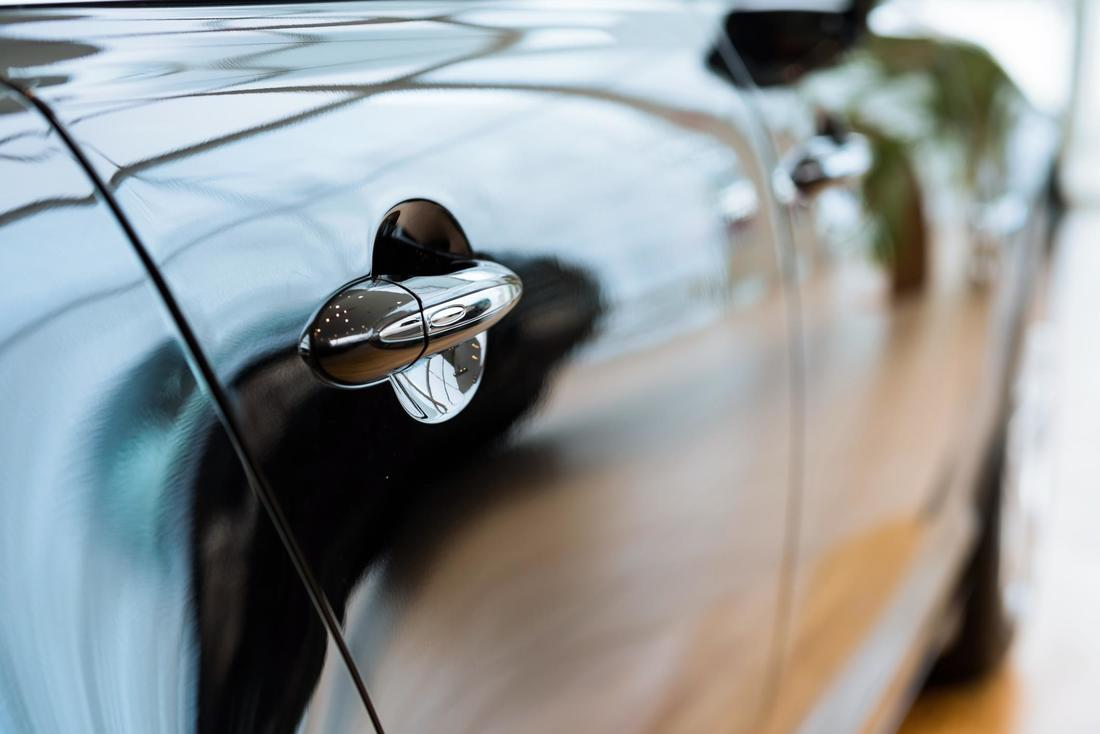 shiny clean black car handle